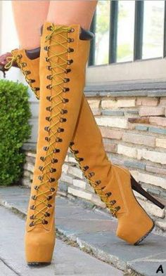 2014 autumn winte160mm heel lace up platform long boots women stylish high heels… #hothighheels