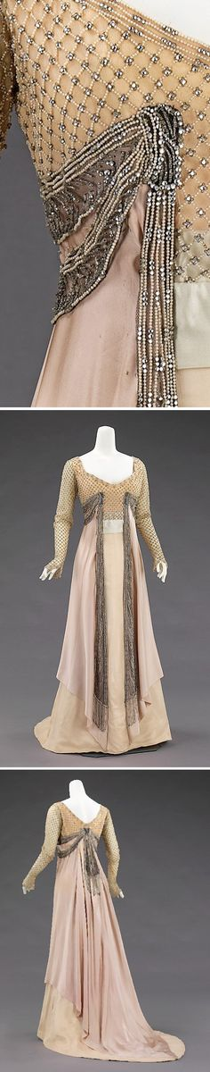 Evening dress, French, 1907–10; silk, rhinestones. House of Worth