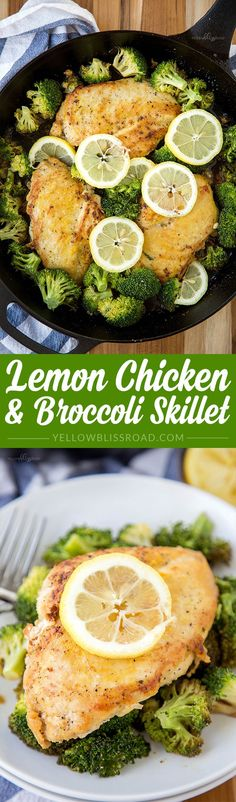 Baked Chicken and Broccoli Skillet Lemon Chicken & Broccoli Skillet – 30 minutes and one skillet is all you need to make this easy dinner recipe Broccoli Recipes, Chicken Broccoli, Lemon Chicken, Baked Chicken, Broccoli Stalk, Cola Chicken, Califlower Recipes, Steamed Broccoli, Eat Clean Recipes