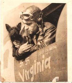 Captain Verinis and Stuka, mascot of the Memphis Belle. Photo from collection of Jamie Verinis