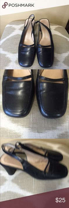 "Enzo Angiolini Black Leather Slingback Pumps 6.5M Excellent condition! Enzo Angiolini Black Leather Slingback Pumps Size 6.5M With 2.5"" Heels Enzo Angiolini Shoes Heels"