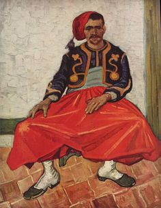 Zouave, 1888. Van Gogh's palette became more intense and began to reduce the number of colours that he used to make the paintings more direct and concentrated. This technique is seen here in the picture of the Zouave that revolves around black and red and variants thereof, making it immediately striking. At this time he also moved towards painting areas of flat colour that were sharply defined (in a similar manner to the Cloisonnists) a method that he gradually expanded.