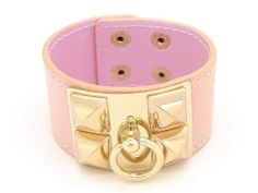 """Pyramid Leather Adjustable Snap bracelet-PEACH PINK/GOLD TONE eshop. $16.99. Pyramid Leather Snap Bracelets. UAS SELLER and FAST SHIPPING. Size : 8.25"""" x 1.5"""""""