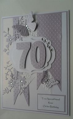 handmade 70th Birthday card by: niftynity  ... lots of layers ... white and silver/gray ... die cut number ...