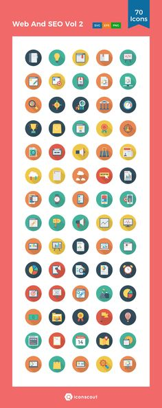 Web And SEO Vol 2  Icon Pack - 70 Flat Icons