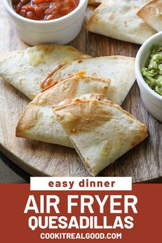 Air Fryer Quesadillas are a super quick and easy dinner option for busy weeknights. Stick with the classic refried beans and cheese, or choose your own filling combination. The air fryer makes the tortilla perfectly crisp and the cheese melted to perfection.