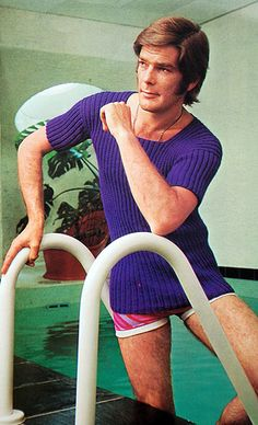 "I don't always swim indoors, but when I do, I wear hand knit tops. Is this the original ""sad etsy boyfriend""?"