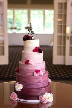 Sweet And Fun Ideas Ombre Wedding Cakes ❤ Mix ombre effect with flowers, ruffles and watercolor wedding cakes. Ombre wedding cakes look lovely. See more:http://www.weddingforward.com/ombre-wedding-cakes/ #wedding #cakes