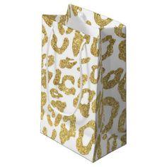 gold glitter leopard pattern small gift bag - glitter glamour brilliance sparkle design idea diy elegant