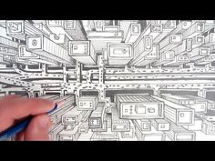 How to Draw a City using One Point Perspective: A Bird's Eye View - YouTube