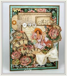 Beautiful card by Ginny mixing A Ladies' Diary and Place in Time #graphic45 #cards