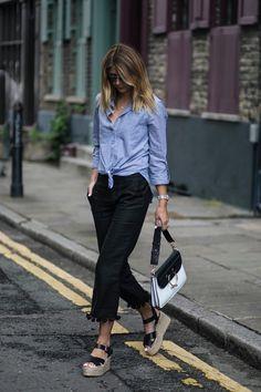 Zara pom pom hem black cropped trousers, wedge espadrilles, street style, summer style, blue pinstripe shirt, JW Anderson monochrome Pierce bag