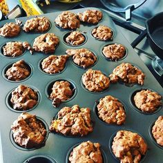 Vegan banana mini muffins for my mini muffin. #mangiabene #homemade #talesfromnw  I followed a very loose recipe of incorporating  1 cup oats 1 cup white flour 1 heaped tbsp dairy-free vegan cacao (or normal cacao) 1 tsp baking powder 1 tsp baking soda  2 tsp of sugar or jaggery (can omit if you like) A pinch of salt  1 cup of mashed banana 1/4 cup of melted coconut oil  1 tbsp of flaxseed soaked for 10 mins in water and 1 tbsp of apple cider vinegar (you could probably replace both of these… Mini Banana Muffins, Flaxseed, 1 Egg, Apple Cider Vinegar, Baking Soda, Coconut Oil, Dairy Free, Oven, Sugar