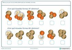 Ficha de adición de monedas Money Worksheets, Second Grade Math, Math Activities, Special Education, Euro, Diners, Google Drive, Kids Crafts, Homeschooling