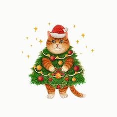 Christmas Kitten, Christmas Animals, Dog Illustration, Illustration Artists, Christmas Cards To Make, Christmas Time, Christmas Wonderland, Cat Drawing, Crazy Cats
