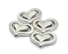 Metalen kralen hartje ± 14x10mm( 5 st) 25008