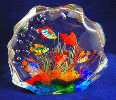 Murano Glass 6 Fish Aquarium Paperweight