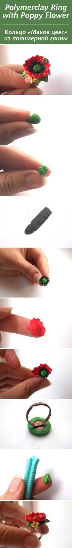 "Polymerclay Ring with Poppy Flower / Кольцо ""Маков цвет"" из полимерной глины #polymerclay"