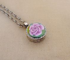 Handmade Rose Polymer Clay Pendant by jewelryfimo on Etsy, $45.00