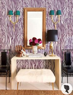 Zebra Pattern Peel and Stick Removable Wallpaper D150 by Livettes