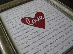 Wedding vows framed master nook