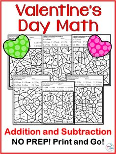 Valentine's Day Addition and Subtraction Math Activity. This is a No Prep set of 6 worksheets of addition and subtraction with 20. Perfect for math centers and Valentine's Day activities. #math #valentinesday #mathcenter #firstgrade #secondgrade #thirdgrade
