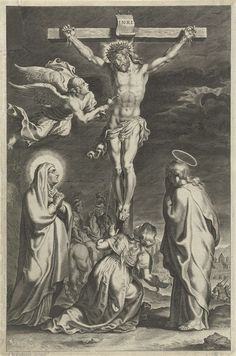 anoniem | Christus aan het kruis, possibly Theodoor Galle, 1612 - 1616 | Christus hangt aan het kruis. Een engel vangt het bloed op dat stroomt uit de wonde aan zijn zij. Maria, Maria Magdalena en de apostel Johannes onder het kruis. De prent is deel van een serie met scènes uit het Oude en Nieuwe Testament.