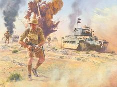 Desert Attack, 1942 Military Art, Military History, Afrika Corps, Ww1 Art, North African Campaign, Military Drawings, British Soldier, British Army, Ww2 History