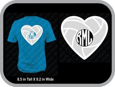 Volleyball heart monogram custom shirt, shown with round monogram on back of shirt - pinned by pin4etsy.com