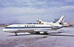 """United Airlines Sud Aviation Caravelle VI-R (registered named """"Ville de Rouen"""") taxiing at Chicago-O'Hare, 1 October 1970 (photo by George W. Sud Aviation, Aviation World, Civil Aviation, United Airlines, Planes, Star Ferry, Airplane Photography, Passenger Aircraft, Air Photo"""