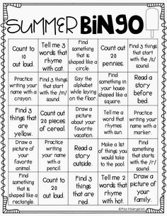 Miss Kindergarten: On My Way to K! {summer bingo} Perfect to send home with parents!