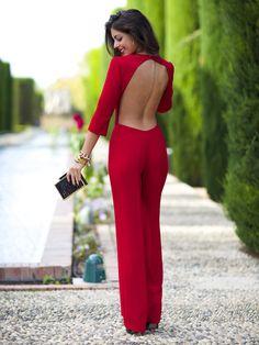 8fb72f6074475b Rot Rückfrei Damen Eleganter Overalls Lang Jumpsuit Hose Hosenanzug  Cocktail Strampler Aussergewöhnliche Kleider