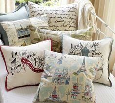 I like the script pillow. But it would probably need to say something from Pride and Prejudice. <3