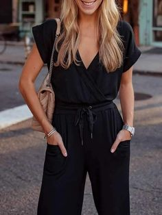 Black V Neck Women Daily Belt Tie Jumpsuits – ebuytrends Jumpsuit Casual, Jumpsuit Outfit, Black Jumpsuit, Vintage Jumpsuit, Casual Belt, Jumpsuit With Sleeves, Color Shorts, Jumpsuits For Women, Rompers