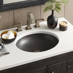 Native Trails Slate Concrete Drop-In or Undermount Oval Bathroom Sink at Lowe's. The Tolosa's smooth surface and elegant design showcase the organic beauty of concrete. This oval bathroom sink can be installed as an undermount Bathroom Sink Design, Drop In Bathroom Sinks, Drop In Sink, Small Bathroom Vanities, Undermount Bathroom Sink, Concrete Bathroom, Budget Bathroom, Concrete Sink, Bathroom Ideas