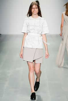 Marios Schwab | Spring 2015 Ready-to-Wear | 10 White printed belted short sleeve top and beige mini skirt
