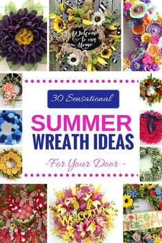 30 Sensational Summer Wreath Ideas for Your Door Round Up by Southern Charm Wreaths Felt Wreath, Diy Wreath, Wreath Ideas, Wreath Making, Mesh Wreaths, Burlap Wreaths, Wreath Crafts, Ornament Wreath, Ornaments