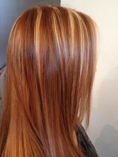 Red strawberry with blonde highlights- love this color....hmmm maybe time for a color change!