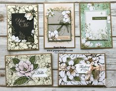 Aren't these cards beautiful? They were so easy to make with the Magnolia Lane Memories & More Card Pack and coordinating Cards & Envelopes. Magnolia Book, Magnolia Stamps, Stamping Up Cards, Rubber Stamping, Scrapbooking, Handmade Birthday Cards, Handmade Cards, Card Envelopes, Paper Cards