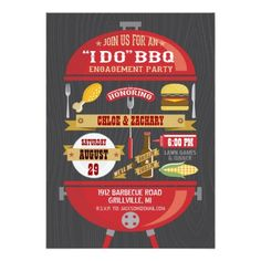 """ I DO "" BBQ Engagement Party Invitation"