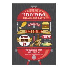 """ I DO "" BBQ Engagement Party Invitation"