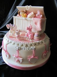 A toy box christening cake, all completely edible. Olivia May's Christening Cake. 14 Handmade toys& 32 individually handmade and grained planks of woods, 5 backing boards all made from gum paste and dried for three weeks. Rice Crispy and. Pretty Cakes, Cute Cakes, Beautiful Cakes, Amazing Cakes, Gateau Baby Shower, Baby Shower Cakes, Deco Cupcake, Cupcake Cakes, Baby Girl Cakes