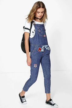 Suzie Denim Dungarees With Patches at boohoo.com