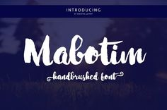 Free for a limited time! The link will show the original price, but it is a free download until June 5th.   Mabotim Brush by Creative.lafont on @creativemarket. Mabotim Brush Font painted, Fun, modern, multi-purpose and operated bold letters combine letters brushing operates with a natural style. Suitable for review, packaging, titles, posters, t-shirts, logos, quotes, invitation, apparel, wedding, advertising, image overlays, greeting cards and web banners, etc. Get substitute alternate…