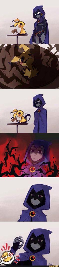 Dawww, Mimikyu and Raven (Pokemon & Teen Titans) Teen Titans Raven, Teen Titans Go, Pokemon Comics, Pokemon Memes, Pikachu Pikachu, Cute Comics, Funny Comics, Dc Comics, Art Manga
