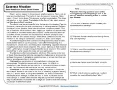Printables Middle School Comprehension Worksheets sixth grade reading comprehension worksheet the o extreme weather 5th worksheet