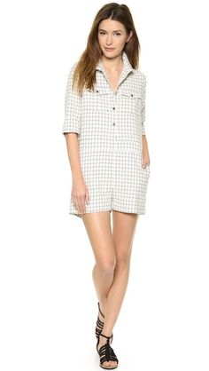 Sea Flannel Shirt Romper in windowpane plaid for a menswear touch