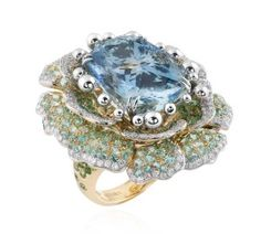 Alessio Boschi bague Peony aigue-marine; collection haute Joaillerie Naturalia – actualités bijoux 2015