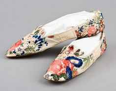 1850: A pair of brocaded ribbon-silk covered ladies pumps, circa 1850, of white kid overlaid in colourful silk, left and right soles, - Live  Auctioneer