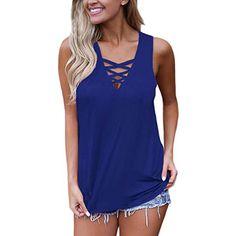 650a37dda212e5 Women s Summer Sleeveless V Neck Lace Up Criss Cross Cami Tank Tops